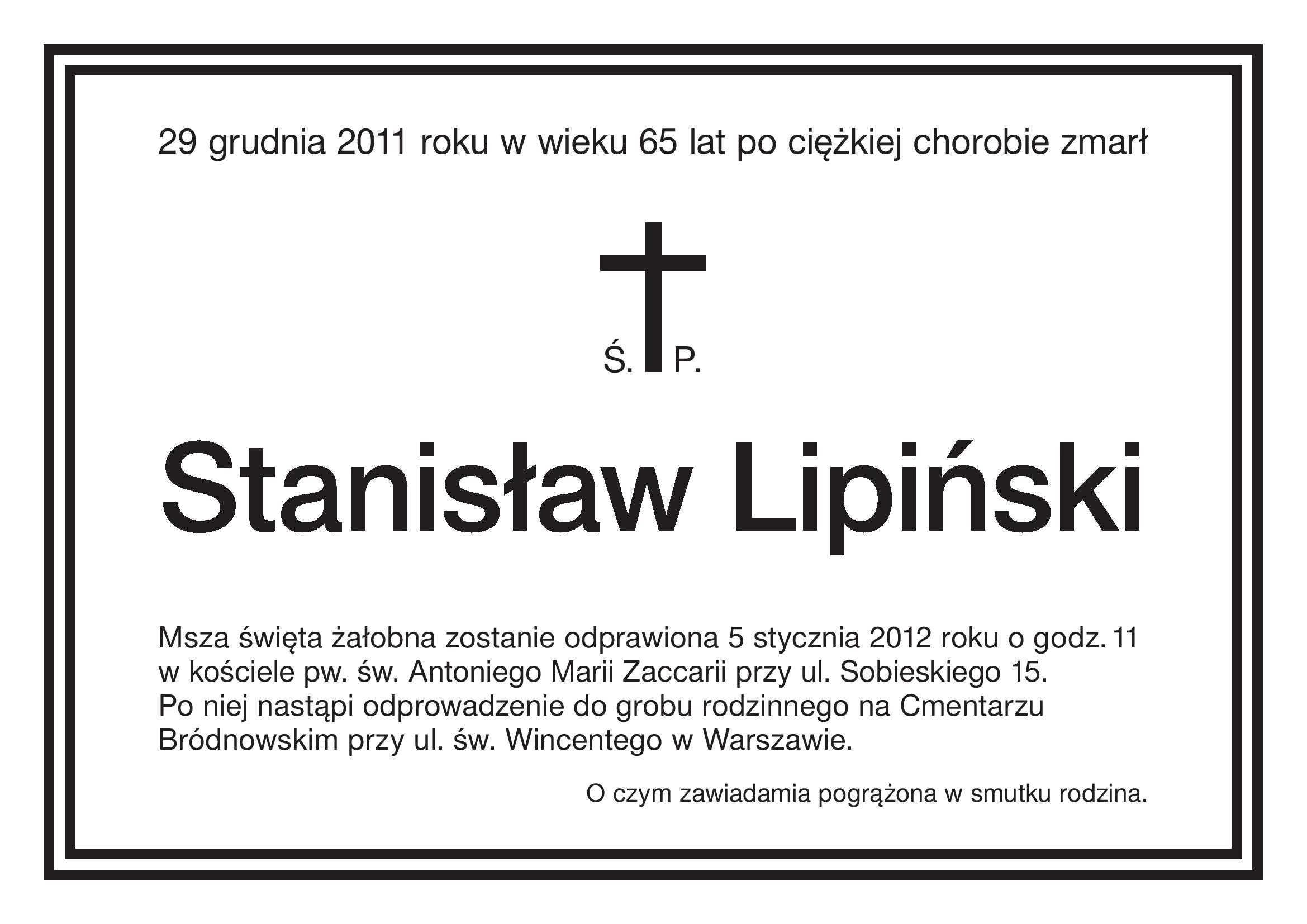 Zmarł Profesor Stanisław Lipiński