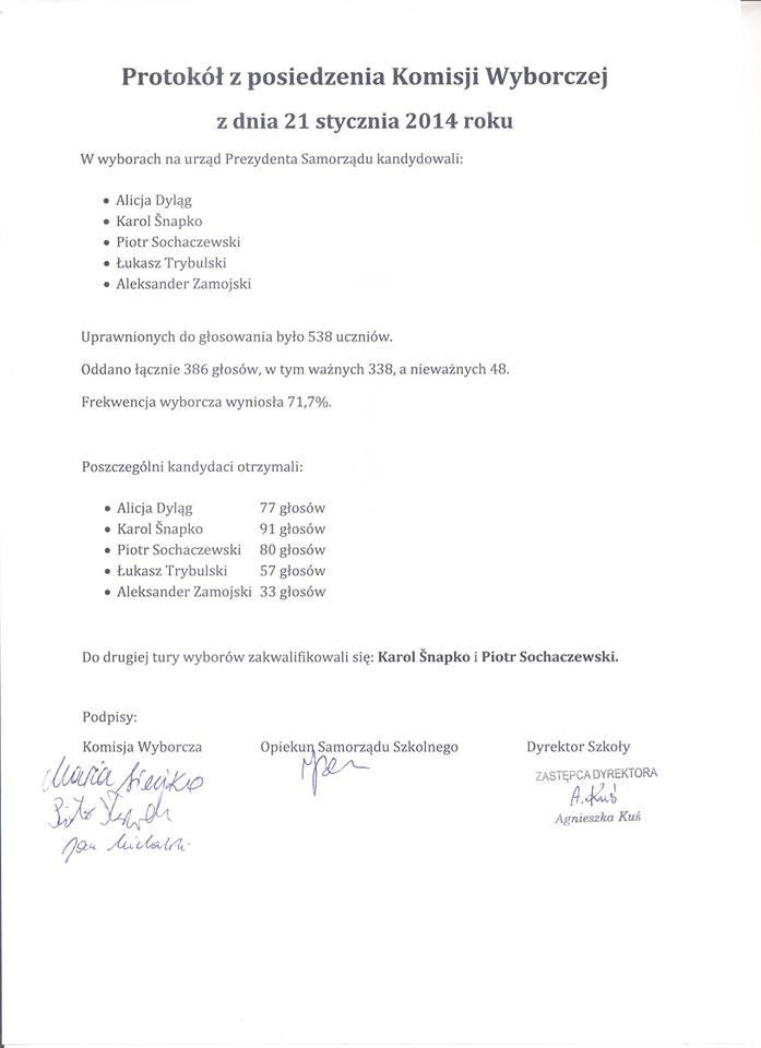 Protokół zposiedzenia Komisji Wyborczej zdnia 21 stycznia 2014 roku